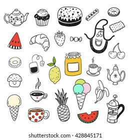 Hand drawn doodle food, confectionery elements set with sweets, candies, cupcakes, cookies, chocolates, fruits.