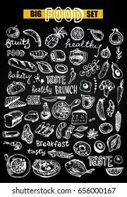 Hand drawn doodle food illustration. Healthy food