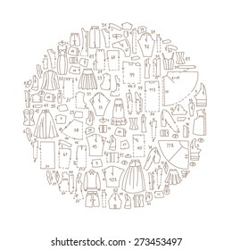 Hand drawn doodle frame with clothes and sewing patterns, circle shape. Good for different templates, scrapbooking, package and wrapping paper, etc