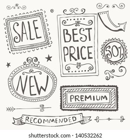 Hand Drawn Doodle Frames and Design Elements