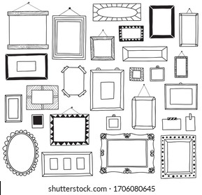 hand drawn doodle frames icon vector set
