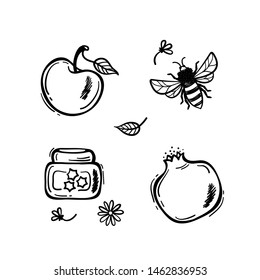 Hand Drawn Doodle Fruits Vector Set. Pomegranate Fruit, Apples, Honey Jar, Bee, Flowers and Leaves. Jewish New Year Holiday, Shana Tova, Rosh Hashanah Design