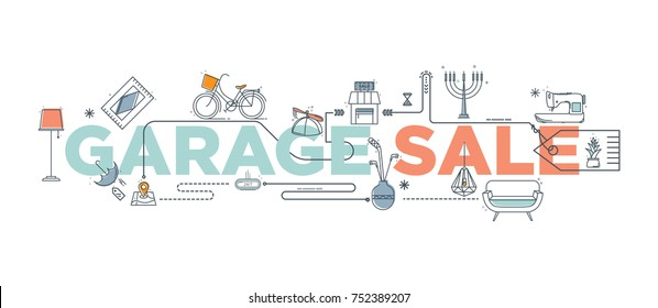 Hand drawn doodle garage sale set icons isolated on the white background. Yard sale elements with signs, box and household items. Branding technology concept for Header banner, flyer, card, brochure.