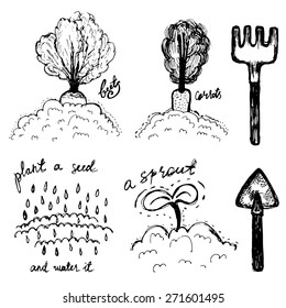 Hand drawn doodle gardening black and white items
