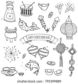 Hand drawn doodle Happy Chinese New Year icons set. Vector illustration. Asian lunar festival collection. Cartoon sketch celebration elements: firecracker, golden coin, money envelope, dragon, lantern