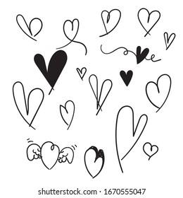 hand drawn doodle heart illustration symbol icon vector
