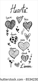 Hand drawn doodle hearts.