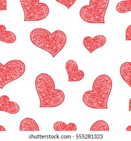Hand drawn doodle hearts seamless pattern. Valentines vector background. Love texture.