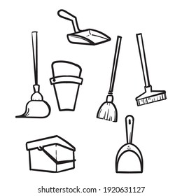 hand drawn doodle Housework cleaning equipment, broom and mop illustration vector isolated