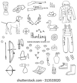 Hand drawn doodle hunting set. Vector illustration. Sketchy hunt related icons, hunting elements, hunting dog, gun, crossbow, hunting wear cloths, boots, plastic sitting duck, binoculars