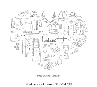 Hand drawn doodle hunting set Vector illustration Sketchy hunt related icons Hunting elements Hunting dog Gun Crossbow Hunting wear cloths Boots Plastic sitting duck Binoculars Deer Outdoor activity