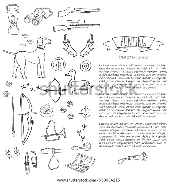 Hand Drawn Doodle Hunting Set Vector Stock Vector Royalty