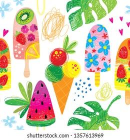 hand drawn doodle ice cream summer  seamless pattern