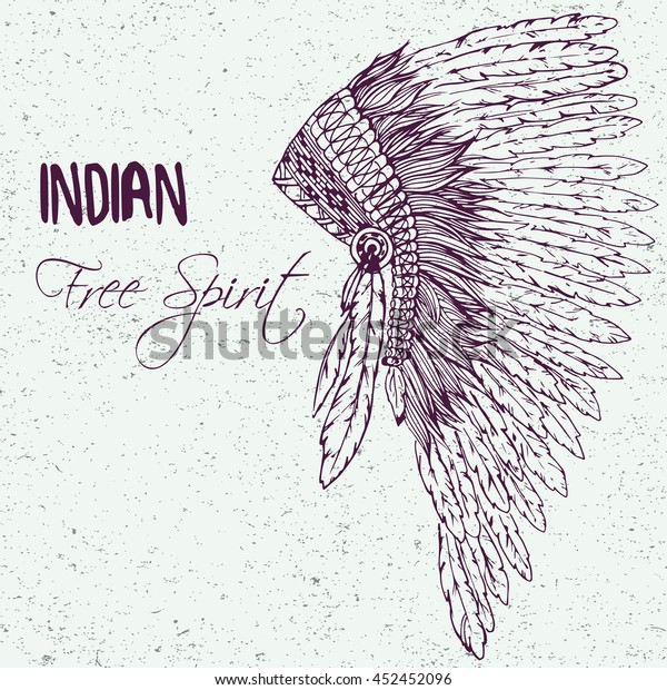 0240b9195 Hand drawn doodle illustration of headdress for native american indian  chief isolated on vintage background.