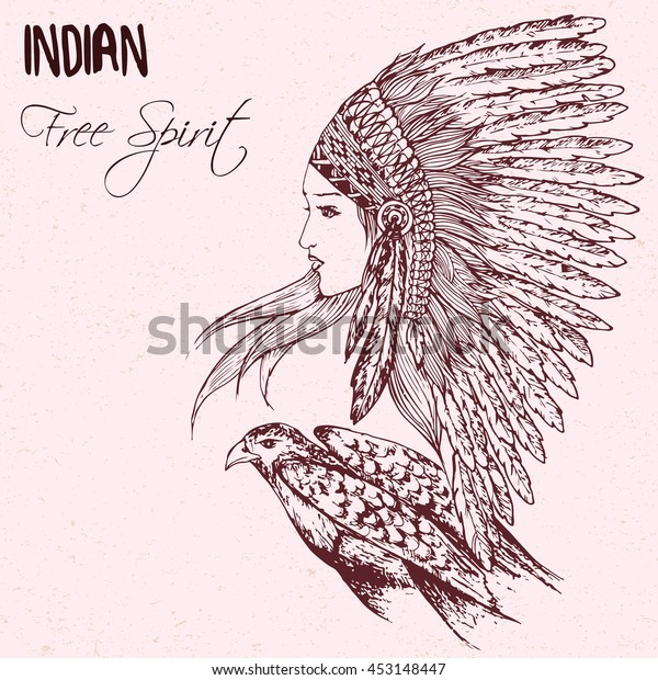 d1cd2a6ee Hand drawn doodle illustration of native american indian girl in chief  headdress with eagle isolated on