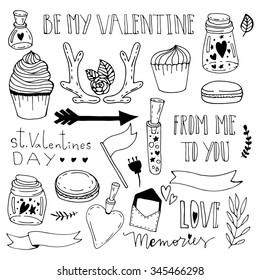 Hand drawn doodle illustration set. Saint Valentine day doodle  vector elements.