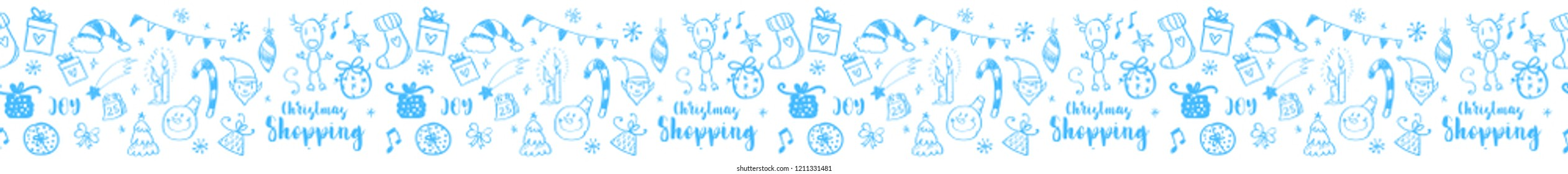 Hand drawn doodle illustration. Stripe ornaments and Illustrator pattern included. Snowflakes, fir-tree branch, snowman, christmas balls, cones, present box.