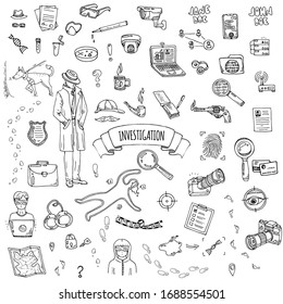 Hand drawn doodle Investigation icons set. Vector illustration. Investigative discovery elements collection. Cartoon detective various sketch symbol: private investigator, dog, magnifier, crime scene
