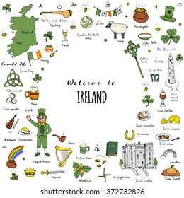 Hand drawn doodle Ireland set Vector illustration Sketchy Irish traditional food icons Republic of Ireland elements Flag Map Celtic Cross Knot Castle Leprechaun Shamrock Harp Pot of gold Travel icons