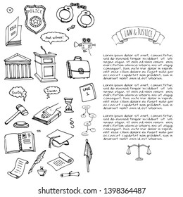 Hand drawn doodle Law and Justice icons set Vector illustration sketchy symbols collection Cartoon elements suitable for info graphics, websites and print media.