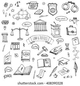 Hand drawn doodle Law and Justice icons set. Vector illustration legal sketchy symbols collection Cartoon concept elements suitable for infographics, websites and print Court Crime Jury Police car