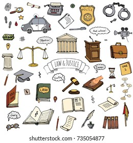 Hand drawn doodle Law and Justice icons set Vector illustration sketchy symbols collection Cartoon law concept elements suitable for info graphics, websites and print media Color icon Court Police car