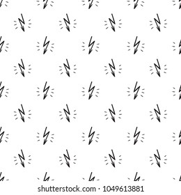 Hand Drawn Doodle Lightning Bolts. Thunderbolts Vector Seamless Pattern. Abstract Thunder background