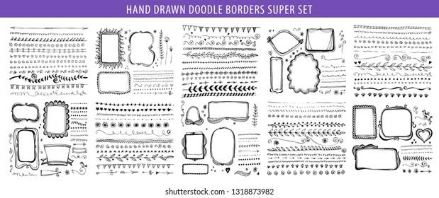 Hand drawn doodle line, border, frame vector design element set. Template for invitation or greeting card.
