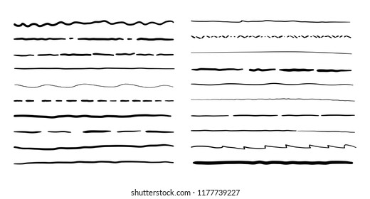 Hand drawn doodle line borders set. Vector pencil scribble sketch pattern for frames design