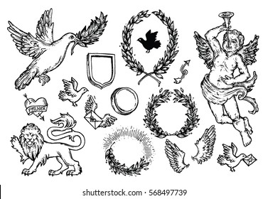 Hand drawn doodle Love and Feelings collection. Sketchy icons for Valentine's day, wedding, love and romantic events. Heart, Laurel Wreath, cupid, pigeons, decorative border, lion, love letters, etc.