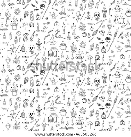 Hand Drawn Doodle Magic Set Vector Stock Vector Royalty Free