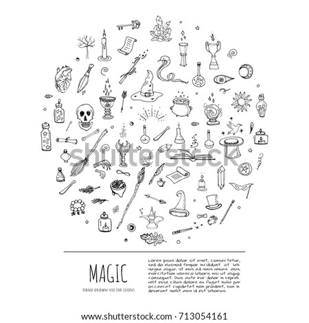 Hand Drawn Doodle Magic Set Vector Stock Vector Royalty Free