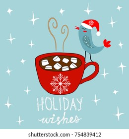 Hand Drawn Doodle Merry Christmas Card. Red Mug with Hot Chocolate Cocoa Marshmallows Kawaii Bird in Santa Claus Hat. White Stars Snow Flakes Baby Blue Background. Holiday Wishes Text Lettering