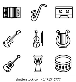 Hand drawn doodle music instrument. Vector illustration for wallpaper.