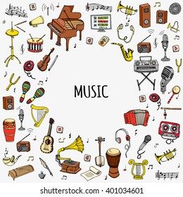 Hand drawn doodle Music set Vector illustration musical instrument and symbols icons collections Cartoon sound concept elements Music notes Piano Guitar Violin Trumpet Drum Gramophone Saxophone Harp