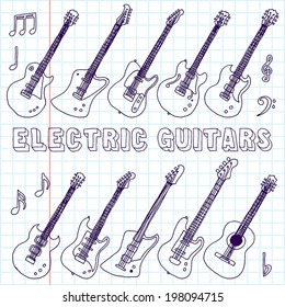 Hand drawn doodle musical instruments. Electric guitars. Vector illustration. School notebook.