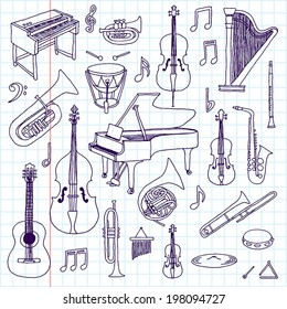 Hand drawn doodle musical instruments. Classical orchestra. Vector illustration. School notebook.