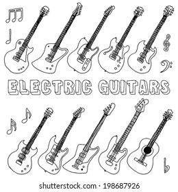 Hand drawn doodle musical instruments. Electric guitars. Vector illustration.