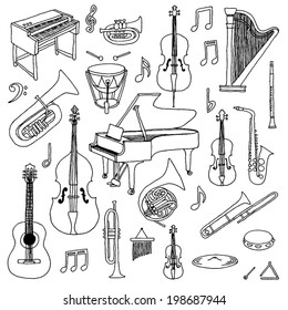 Hand drawn doodle musical instruments. Classical orchestra. Vector illustration.
