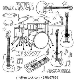 Hand drawn doodle musical instruments. Rock band set. Vector illustration.