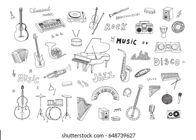 Hand drawn doodle musical instruments vector graphic illustrations set