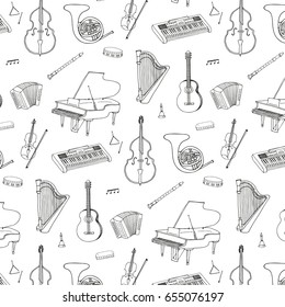 Hand drawn doodle musical instruments vector graphic pattern
