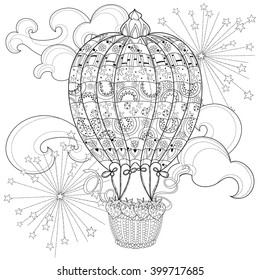 Hand drawn doodle outline  air balloon in flight decorated with floral ornaments.Vector zentangle illustration.Floral ornament.Sketch for tattoo, poster, children or adult coloring pages.Boho style.