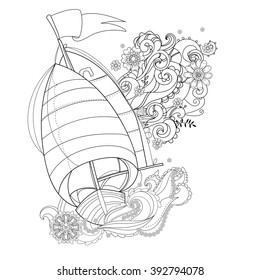 Hand drawn doodle outline  boat decorated with floral ornaments.Vector zentangle illustration.Floral ornament.Sketch for tattoo, poster or adult coloring pages.Boho style.