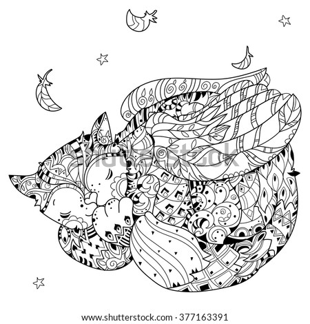 angel kitten coloring pages | Hand Drawn Doodle Outline Cat Angel Stock Vector (Royalty ...