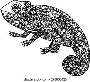 Hand drawn doodle outline chameleon illustration decorated with ornaments