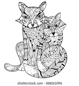 Hand Drawn Doodle Outline Fox Decorated With OrnamentsVector Zentangle IllustrationFloral Ornament