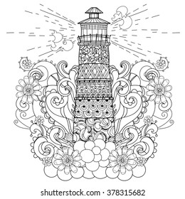 Hand drawn doodle outline lighthouse decorated with floral ornaments.Vector zentangle illustration.Floral ornament.Sketch for tattoo, poster or coloring pages.Boho style.