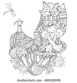 The frog on a big mushroom - Jungle & Forest Adult Coloring Pages | 280x260