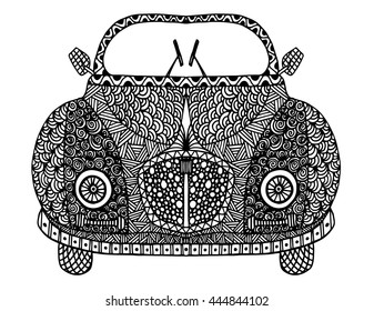 Hand drawn doodle outline retro car decorated with ornaments front view.Vector zentangle illustration.Floral ornament.